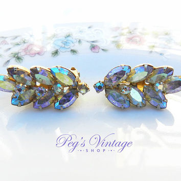 Swarovski Aurora Borealis Continental Earrings, Gold Tone Leaf Clip On Earrings