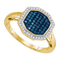 Blue Diamond Fashion Ring in 10k Gold 0.33 ctw