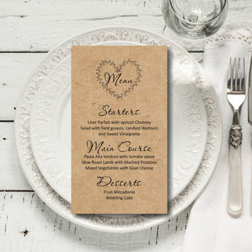Custom Wedding Menu, Rustic Kraft Wedding Menu, wedding menu template, digital PDF, you print, DIY