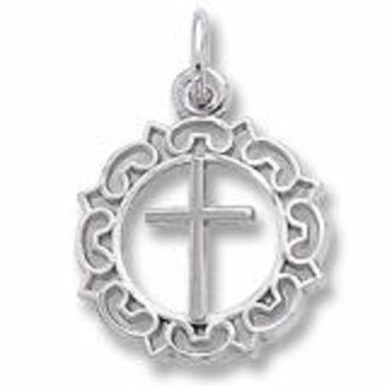 Cross Charm In Sterling Silver