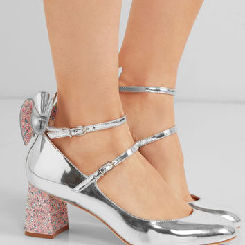 Sophia Webster - Lilia bow-embellished mirrored-leather Mary Jane pumps