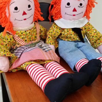 Vintage Raggedy Ann and Andy Dolls Toys Set Great Nostalgic Vintage Nursery Decor