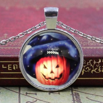 New Arrived Halloween magic pumpkin light Glass Cabochon Jewelry Crystal Cabochon Glass Chain Necklace for Women Girls Gift