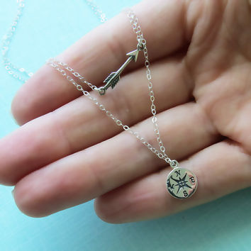 Compass & Arrow Layering Necklace • Double Layered Necklace • Traveler Gift • Graduate Gift • Bon Voyage • Good Luck • Arrow • Compass