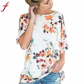 DCCKON3 floral printing blouse womens short sleeve flare loose o neck tops blouses  white shirt babydoll top