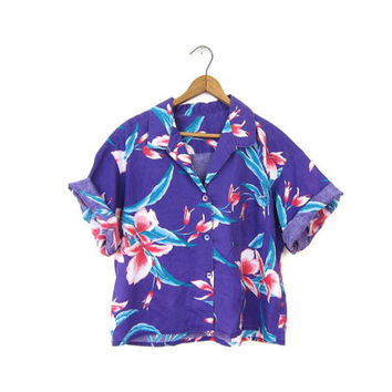 80s Floral Shirt Cropped TROPICAL Hawaiian Top Short Sleeve Tee Purple Crop Tshirt Retro Hipster Boho Grunge Vintage 1980s Medium Large