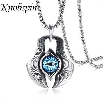 Unique Vintage Dragon Cat Eye Cabochon Pendant Necklace for Men Stainless Steel Punk collares collier Male Jewelry 24 inch
