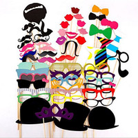 ACYC® Fanny Photo Booth Props 58 piece DIY Kit for Wedding Birthdays Graduate Party Travel , Costumes with Mustache on a stick, Hats, Glasses, Mouth, Bowler, Bowties Stick