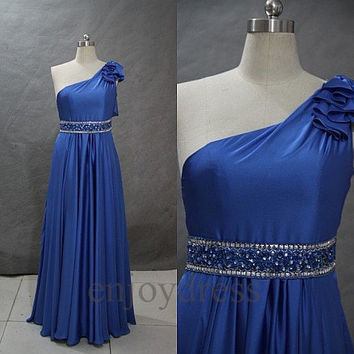 Custom Blue Beaded One Shoulder Long Prom Dresses Formal Evening Gowns Wedding Party Dresses Formal Party Dresses Bridesmaid Dresses 2014
