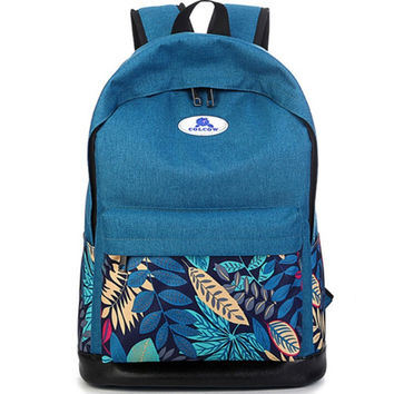 Leaf Pattern Travel Backpack Daypack Bookbag