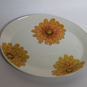 Vintage Johnson Bros Orange & Yellow Crysanthemum Ironstone Platter