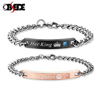 OBSEDE Fashion Unique Gifts for Lovers Her King His Queen Stainless Steel Couple Bracelets for Women Men Jewelry with Crystal