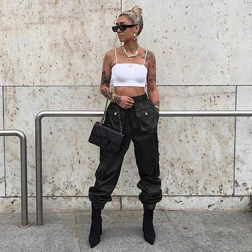 Women Fashion Solid Color High Waist Leisure Cargo Pants Trousers