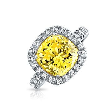 3CT Canary Yellow Cushion Cut CZ Engagement Ring Sterling Silver