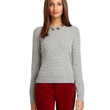 Crewneck Cable Knit Cashmere Sweater - Brooks Brothers