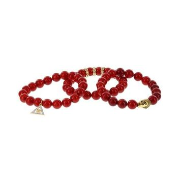 Set of 3 Red Dye Coral with Brass Buddha, Gold Plated