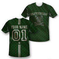 Exclusive Personalized Slytherin Crest Adult Quidditch Jersey | HarryPotterShop.com