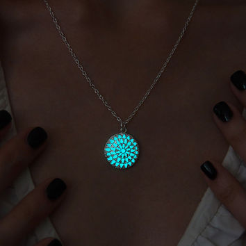 Glow in the Dark Necklace Aqua Circle - Glowing Pendant - Glow Jewellery - Frozen Necklace - Glow Necklace - Handmade Necklace - Magic Glow