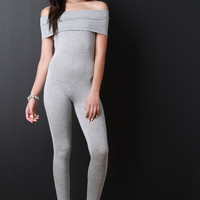 Off The Shoulder Jersey Knit Jumpsuit
