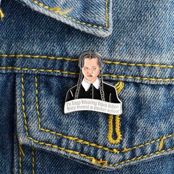 Trendy Cartoon Girl Brooch The Addams Family Inspired Wednesday Pin Buckle Denim jacket Shirt Collar Lapel Pin Badge Jewelry for Girls AT_94_13