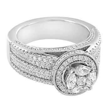Sterling Silver Iced Out Marquis Cut Solitaire Designer 14k Rhodium Finish Engagement Ring