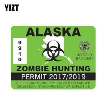 YJZT 10.2CM*7.7CM Car Sticker ALASKA ZOMBIE Hunting Permit Reflective Decal Motorcycle Parts C1-7454
