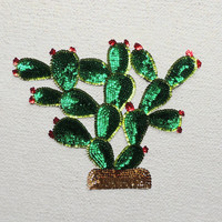 Lovely EXTRA LARGE Mexican NOPAL Cactus Sequin applique patch