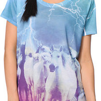 A-Lab Girls Milly Horses Teal Sublimated Tee Shirt