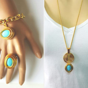 Gemstone Set, Gold And Turquoise Jewelry, Gold And Turquoise Set, Wire Wrapped Set, December Birthstone, Statement Set, Jewelry Set, Gold