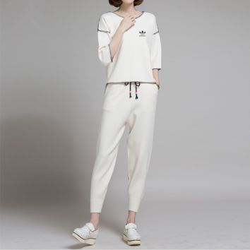 """Adidas"" Women Casual Fashion Knit Middle Sleeve Sweater Trousers Set Two-Piece Sportswear"