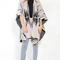 Knit Aztec Cape | MakeMeChic.com
