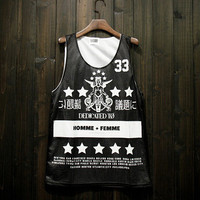 Comfortable Hot Summer Beach Bralette Stylish Sexy Basketball Tops Vintage Print Sports Vest [10474620099]