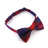 Mens plaid bow tie – red and navy blue bow tie – pre tied adjustable bow tie - tartan bowtie