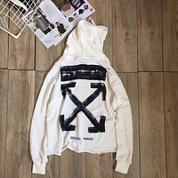 Vlove x Off White Ins Fashion Print Hoodie Top Sweater Pullover