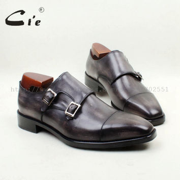 Square Cap Toe Handmade 100% Genuine Calf Leather Breathable Hand-Painted Grey Double Monk Straps Men Shoe