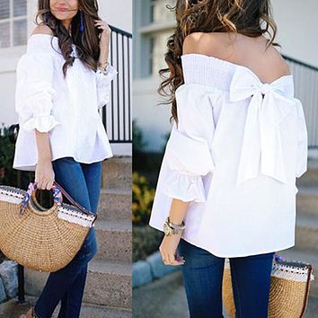 Women's Sexy Off Shoulder Strapless Blouse/Bowknot Tops/Casual Loose Blouse Plus Size