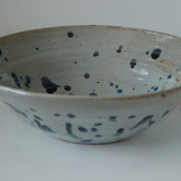 "Large 10 inch Decorative Bowl, Silver Grey and Indigo blue, ""Ink Splash"", Wheel Thrown stoneware pottery ceramic"