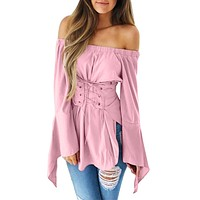 Women's Flare Long Sleeve Off Shoulder Bandage Slim Blouse