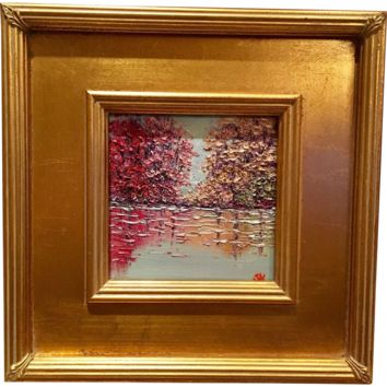 """""""Abstract Trees on the Water Landscape"""", Original Oil Painting by artist Sarah Kadlic, Gilt Leaf Frame 12x12"""
