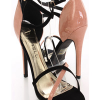 Black Peach Two Tone Strappy Sandal