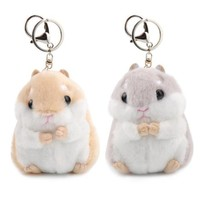 Baby Kids Kawaii Cute Soft Pom Plush Cartoon Animal Small Hamster KeyChain Toy Doll Key Chain Stuffed Mouse Toy Free Shipping