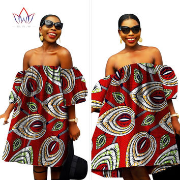 African print wax fabric mini dress