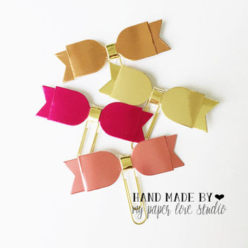 gold bow paper clips mini size : glamour collection (gold, rose gold, pinks) (4pcs/set)
