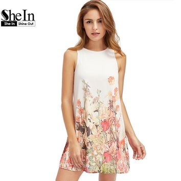 SheIn Ladies New Arrival Multicolor Sleeveless Flower Print Boho Dresses Womens Summer Round Neck Cut Out Cute Shift Dress