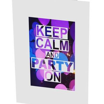 """Keep Calm - Party Balloons 10 Pack of 5x7"""" Side Fold Blank Greeting Cards by TooLoud"""