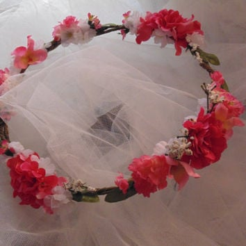 Wedding Crown Pink Floral Tiara, Rustic Wedding, Princess Flower Crown