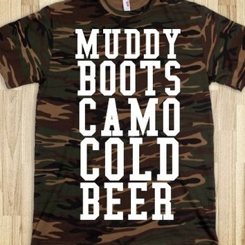 Supermarket: Muddy Boots Camo and Cold Beer Camo T-Shirt from Glamfoxx Shirts