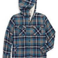 Boy's Quiksilver 'Grouper' Fleece Lined Flannel Hooded Shirt