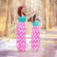 Miami Lights Maxi Dress in Teal and Neon Pink