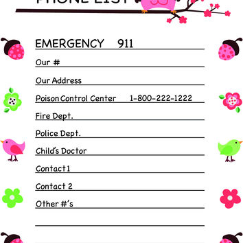 Emergency Phone List - Various Styles Available